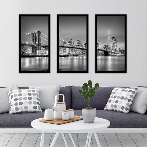 """ NewYork"" Framed Plexiglass Wall Art Set of 3"