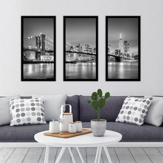 """New York"" Framed Plexiglass Wall Art Set of 3"