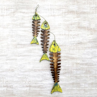 Set of 3 Handcrafted Albesia Wood 'Fish Bones' Home Accent Wall Sculptures (Indonesia)