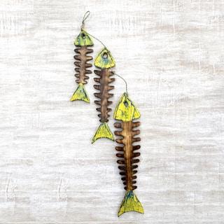 Set of 3 Handmade Albesia Wood 'Fish Bones' Home Accent Wall Sculptures (Indonesia)
