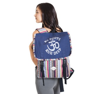 My Roots Run Deep Upcycled Cotton Backpack-Blue
