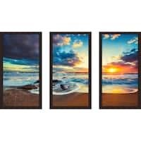 """Cloudscape over the Sea 2"" Framed Plexiglass Wall Art Set of 3"