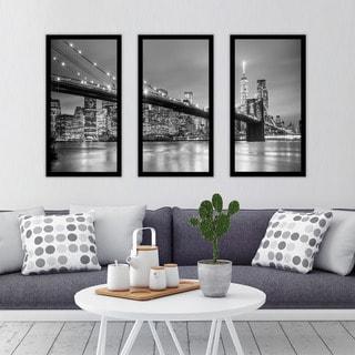 """New York"" Framed Plexiglass Wall Art Set of 3"