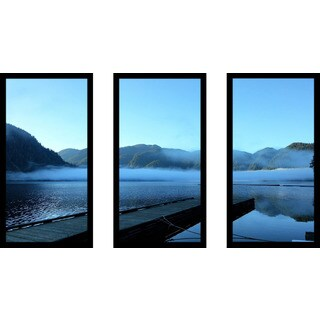 """Blue"" Framed Plexiglass Wall Art Set of 3"