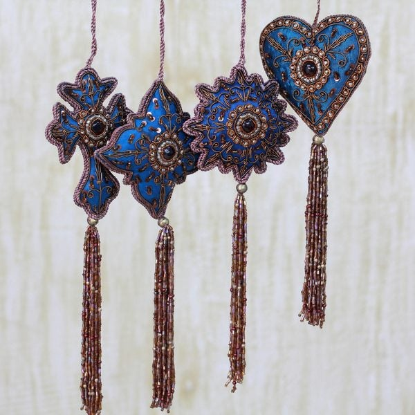 Set of 8 Handcrafted Beaded 'Teal Splendor' Holiday Ornaments (India)