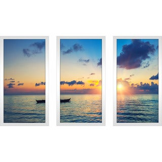 """Colorful sunrise"" Framed Plexiglass Wall Art Set of 3"