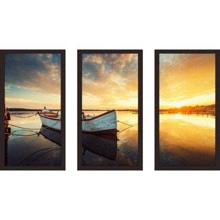"""Boat on lake"" Framed Plexiglass Wall Art Set of 3"