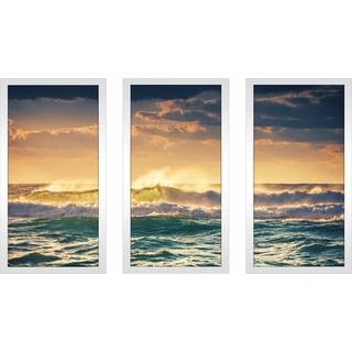 """Sunrise and shining waves"" Framed Plexiglass Wall Art Set of 3"