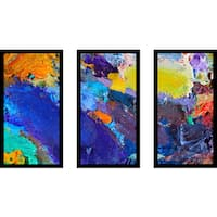 """Abstract"" Framed Plexiglass Wall Art Set of 3"