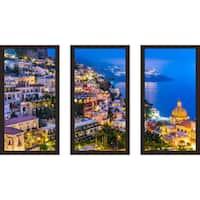 """Positano village at Amalfi Coast, Italy 1"" Framed Plexiglass Wall Art Set of 3"