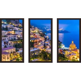 """Positano village at Amalfi Coast, Italy 1"" Framed Plexiglass Wall Art Set of 3 (2 options available)"