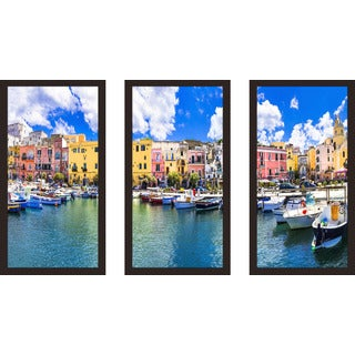 """Procida island, Italy"" Framed Plexiglass Wall Art Set of 3"