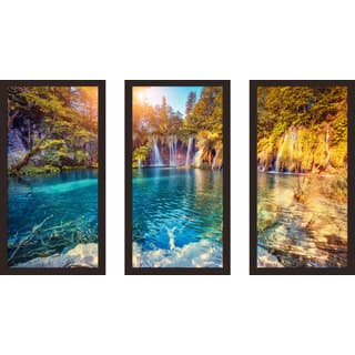"""Plitvice Lakes National Park, Croatia"" Framed Plexiglass Wall Art Set of 3"