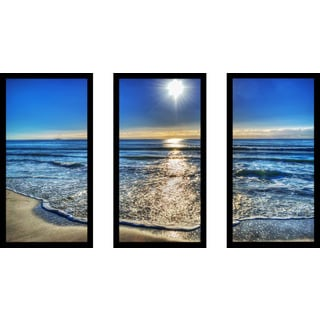 """""""Small Waves by the Shore"""" Framed Plexiglass Wall Art Set of 3"""