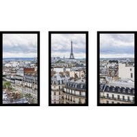 """""""Paris Rooftops"""" Framed Plexiglass Wall Art Set of 3"""