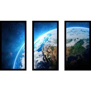 """""""Earth in Space"""" Framed Plexiglass Wall Art Set of 3"""