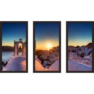 """Village of Oia, Santorini"" Framed Plexiglass Wall Art Set of 3"