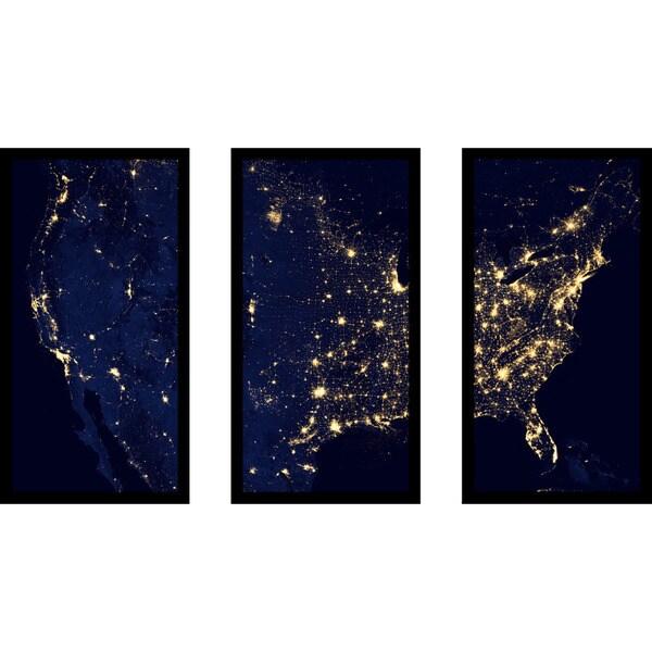"""""""State Lights"""" Framed Plexiglass Wall Art Set of 3"""