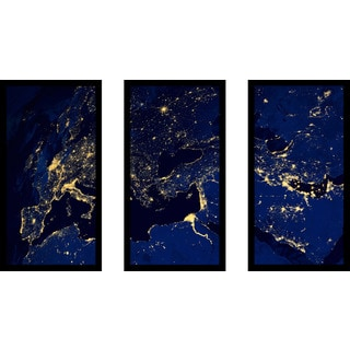 """Earth"" Framed Plexiglass Wall Art Set of 3"