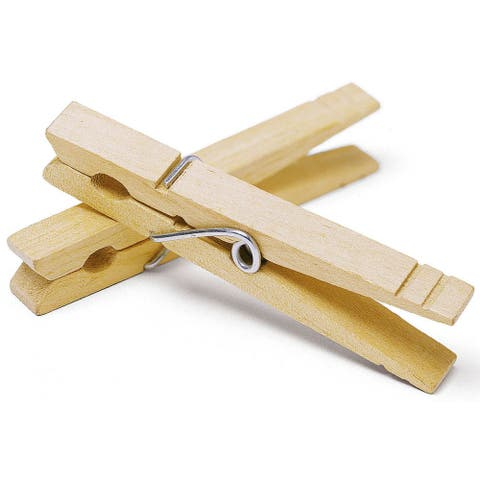 Whitmor 6026-855 50 Count Wood Wire Spring Clothespins