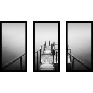 """B&W Ocean 5"" Framed Plexiglass Wall Art Set of 3"