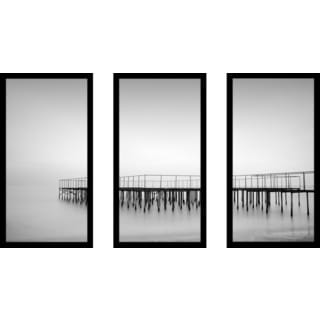 """B&W Ocean 3"" Framed Plexiglass Wall Art Set of 3"