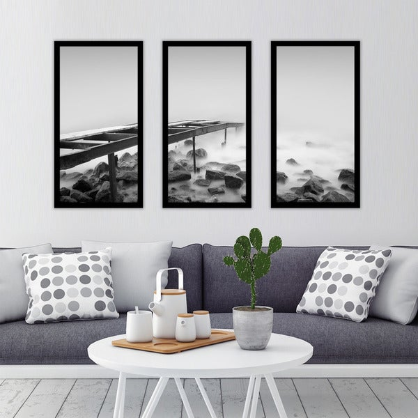 """B&W Ocean 1"" Framed Plexiglass Wall Art Set of 3"
