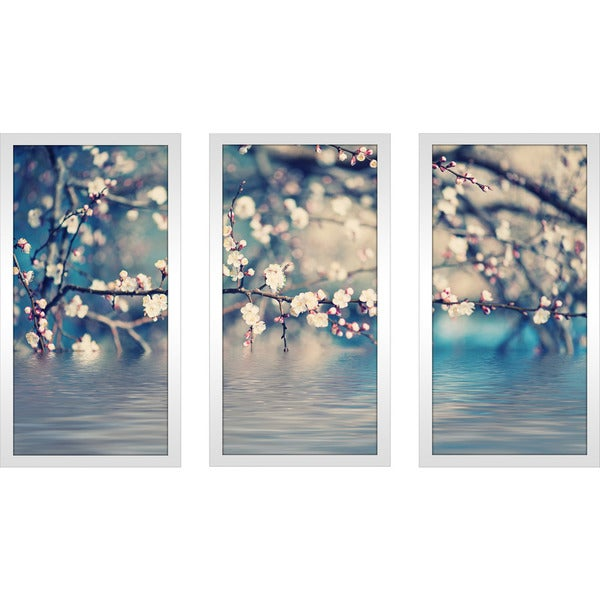 """Blue Floral Photography"" Framed Plexiglass Wall Art Set of 3. Opens flyout."