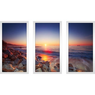 """Beautiful sunrise over the horizon"" Framed Plexiglass Wall Art Set of 3"