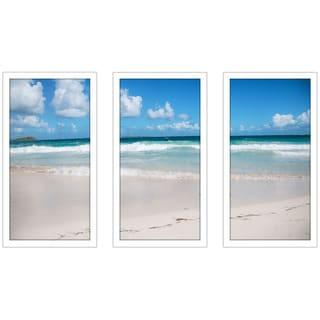 """Day by the Beach"" Framed Plexiglass Wall Art Set of 3"