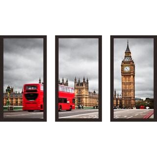 """London"" Framed Plexiglass Wall Art Set of 3"
