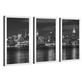 """Black City"" Framed Plexiglass Wall Art Set of 3"
