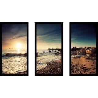 """""""Sunrise Over the Horizon"""" Framed Plexiglass Wall Art Set of 3"""