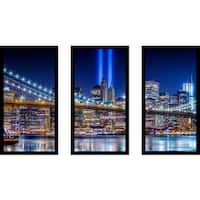 """World Trade Center Lights over Manhattan"" Framed Plexiglass Wall Art Set of 3"