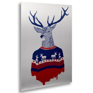 Robert Farkas 'Ugly Winter Pullover' Floating Brushed Aluminum Art
