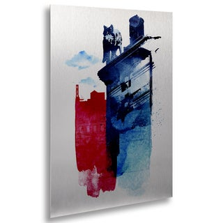 Robert Farkas 'This Is My Town' Floating Brushed Aluminum Art