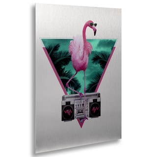 Robert Farkas 'Miami Flamingo' Floating Brushed Aluminum Art