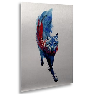 Robert Farkas 'Lupus Lupus' Floating Brushed Aluminum Art