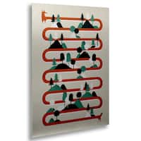 Robert Farkas 'Foxy Stripes' Floating Brushed Aluminum Art
