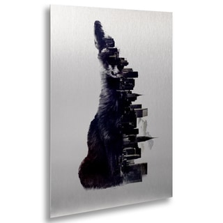 Robert Farkas 'Fox From The City' Floating Brushed Aluminum Art