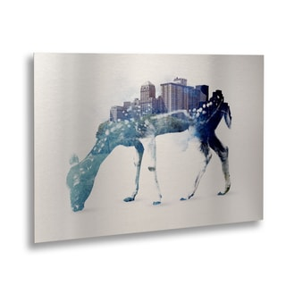 Robert Farkas 'City Deer' Floating Brushed Aluminum Art