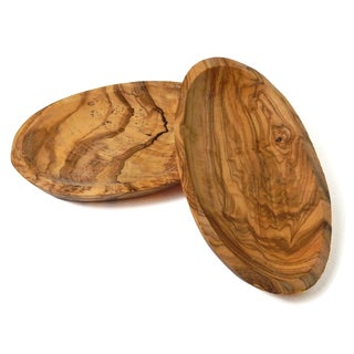 Le Souk Olivique Olive Wood Set of 2 Small Oval Trays (Tunisia)