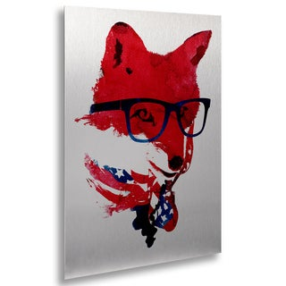 Robert Farkas 'American Fox' Floating Brushed Aluminum Art