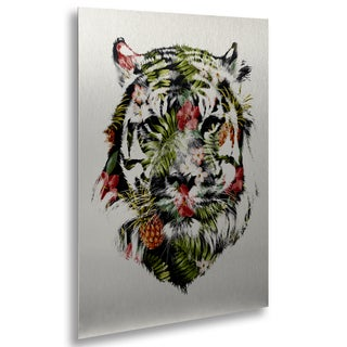 Robert Farkas 'Tropical Tiger' Floating Brushed Aluminum Art
