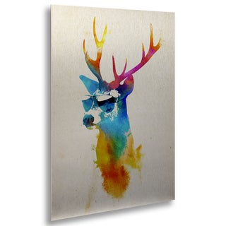 Robert Farkas 'Sunny Stag' Floating Brushed Aluminum Art