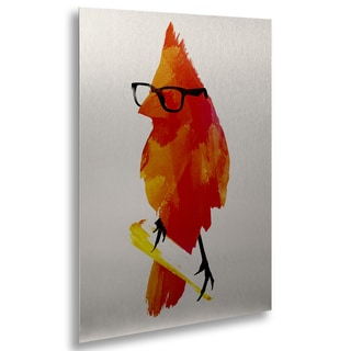 Robert Farkas 'Punk Birdy' Floating Brushed Aluminum Art