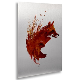 Robert Farkas 'Plattensee Fox' Floating Brushed Aluminum Art