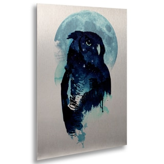 Robert Farkas 'Midnight Owl' Floating Brushed Aluminum Art