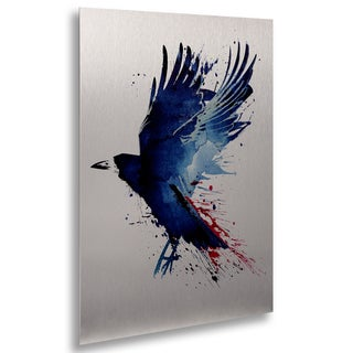 Robert Farkas 'Bloody Crow' Floating Brushed Aluminum Art