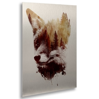Robert Farkas 'Blind Fox' Floating Brushed Aluminum Art
